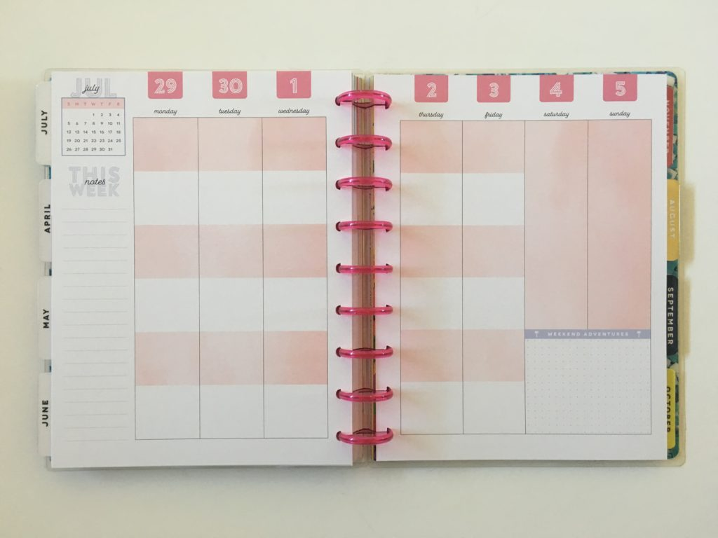 MAMBI color block layout categories vertical layout monday start discbound happy planner review