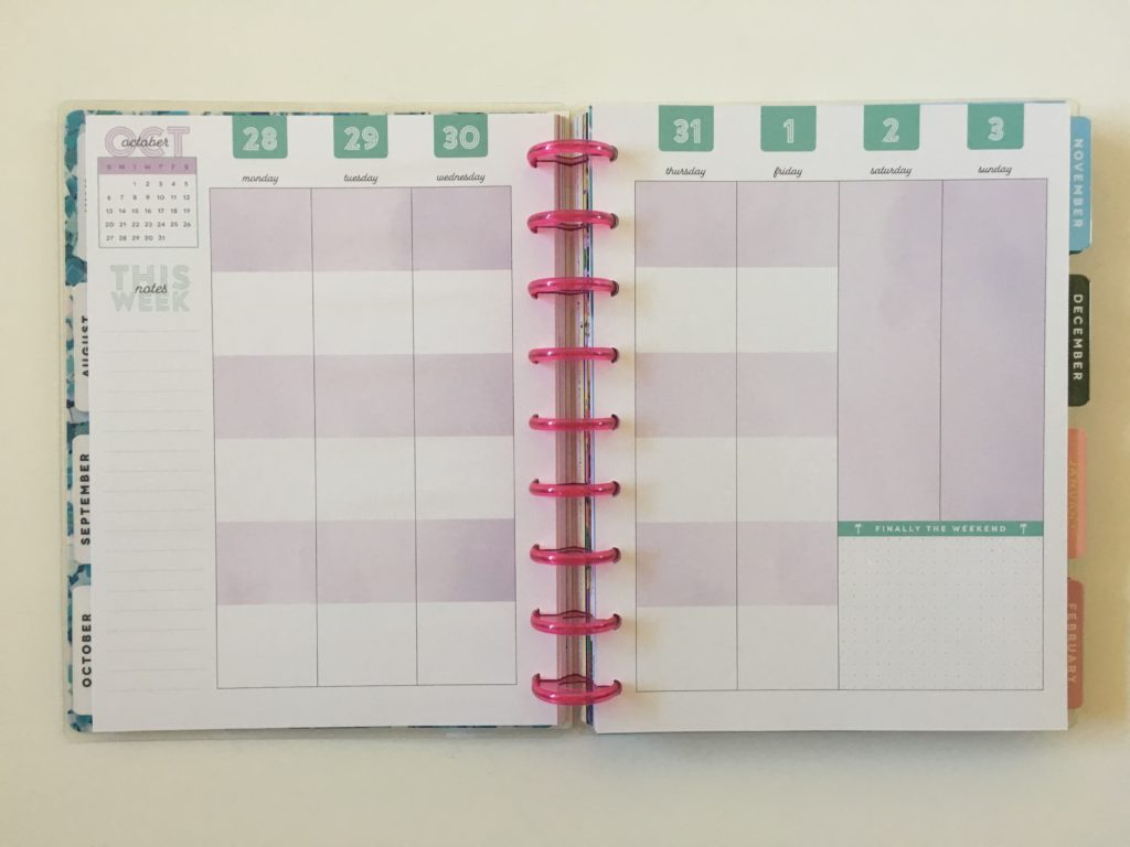 MAMBI happy planner color block layout categories vertical layout monday start discbound review