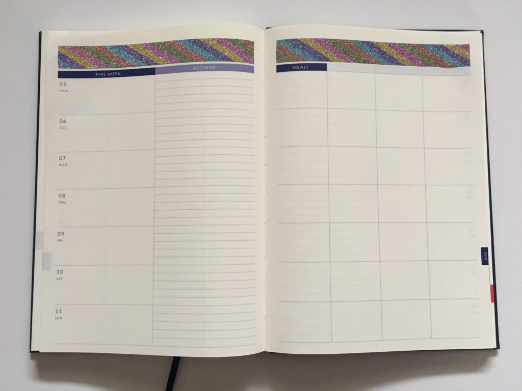 before the pen planner spread categories layout minimalist washi tape glitter