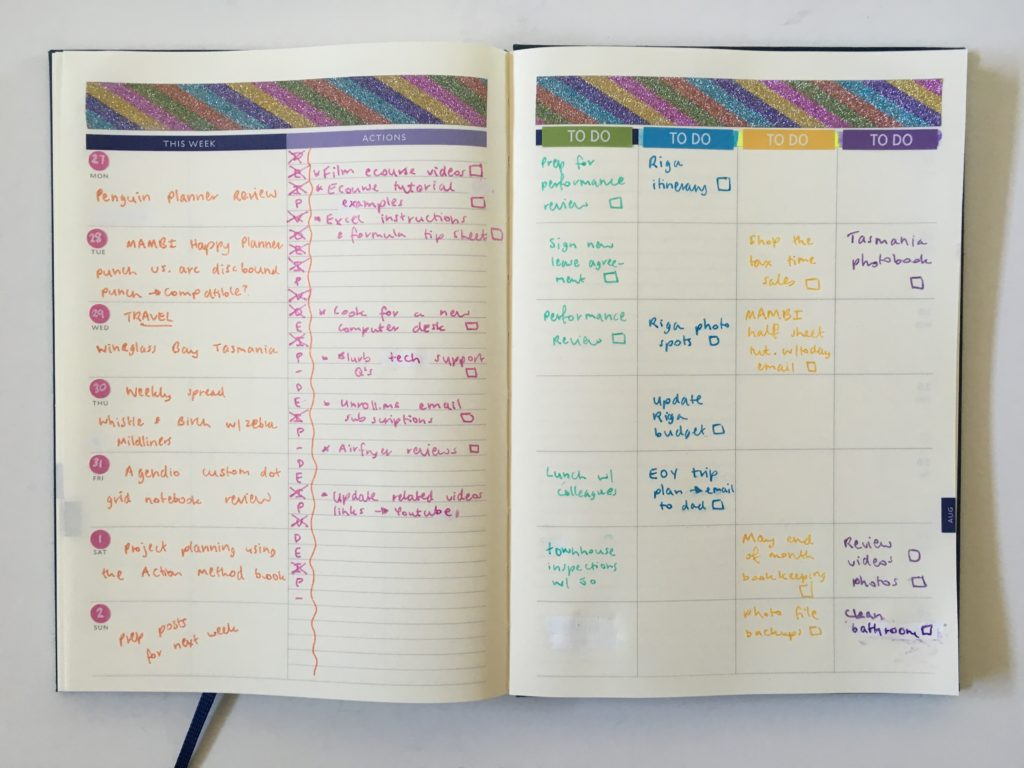 glitter washi tape weekly spread blogging horizontal and categories layout rainbow colorful