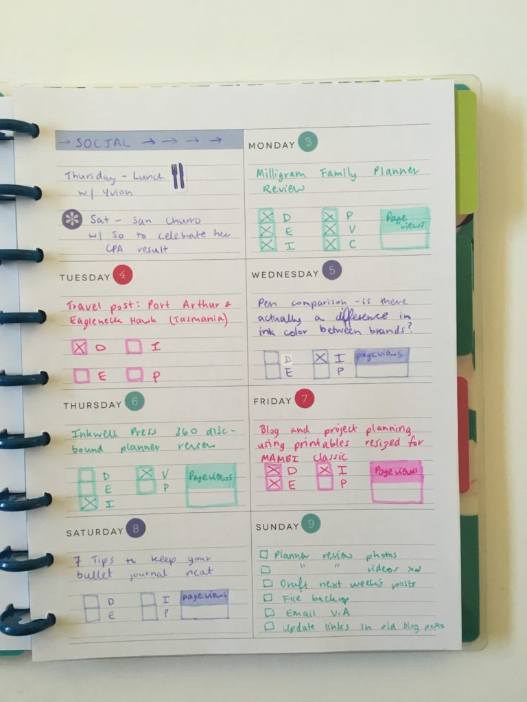 happy planner blogging spread ideas weekly dashboard layout horizontal monday start lined pastel pink purple mint