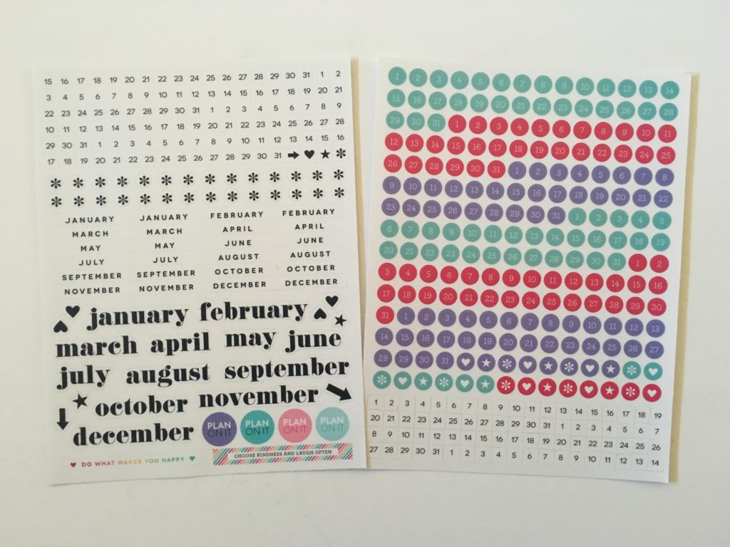 happy planner dashboard layout planner stickers pink purple mint neutral date dots asterisk functional monthly