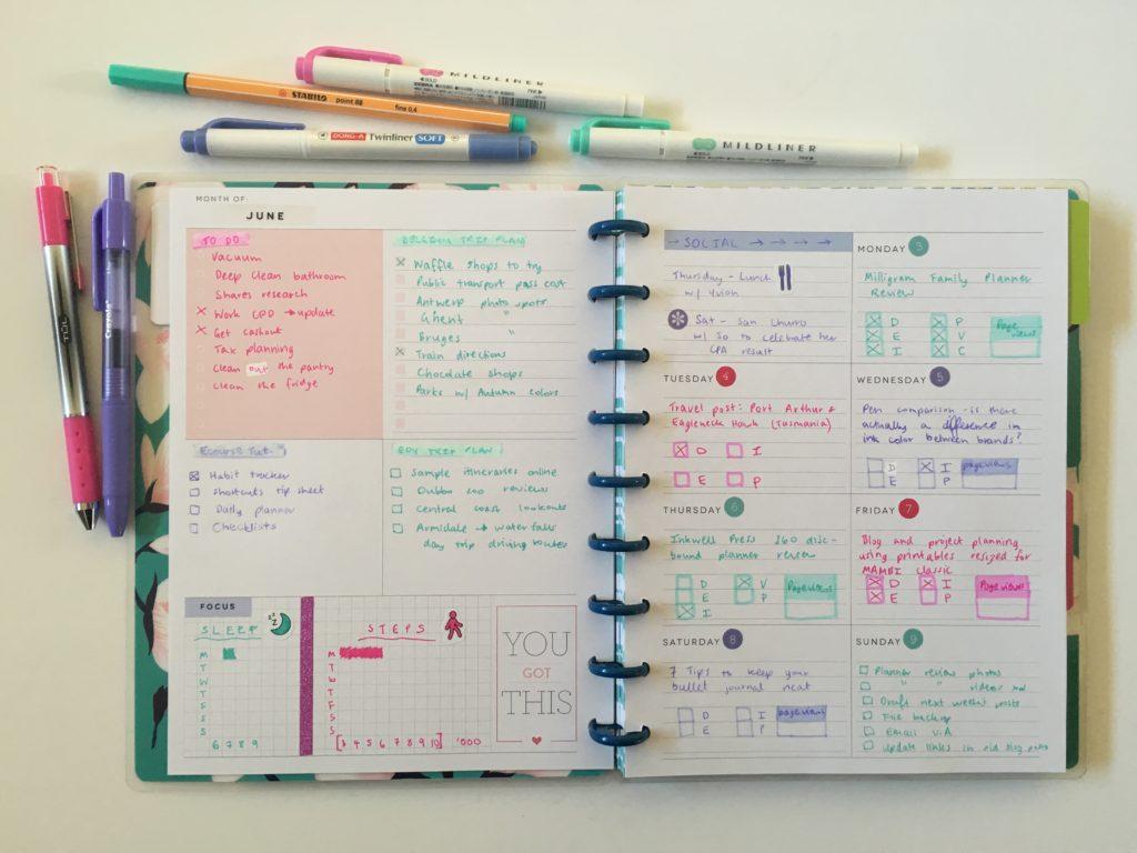 happy planner dashboard weekly layout inserts refill rainbow date dot stickers zebra mildliners pink purple mint theme mambi