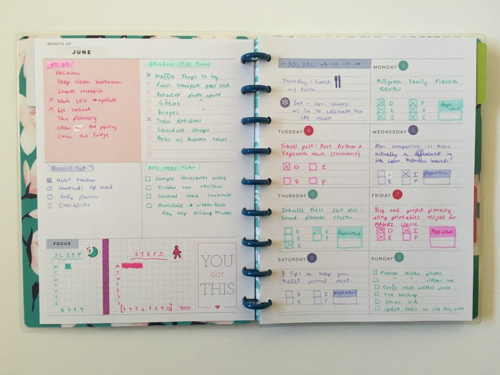 happy planner dashboard weekly layout inserts refill rainbow date dot stickers zebra mildliners pink purple mint theme mambi colorful