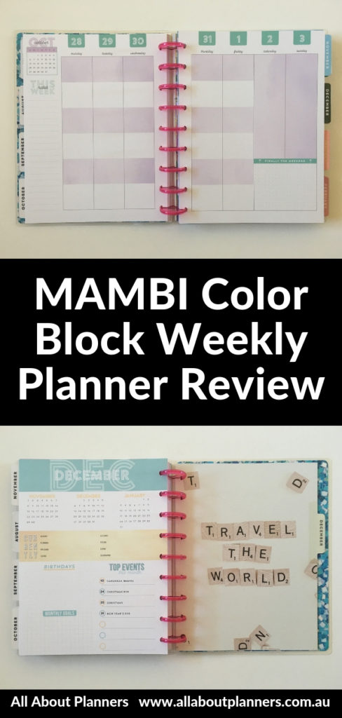 mambi color block weekly layout review pros cons video flipthrough pen testing pastel categories vertical weekend honest review