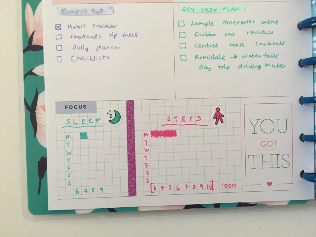 mambi habit tracker weekly spread sleep steps tracker happy planner