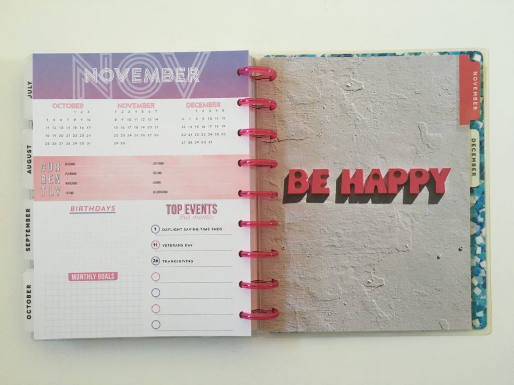 mambi happy planner color block weekly layout monthly planning page currently goals birthdays top events
