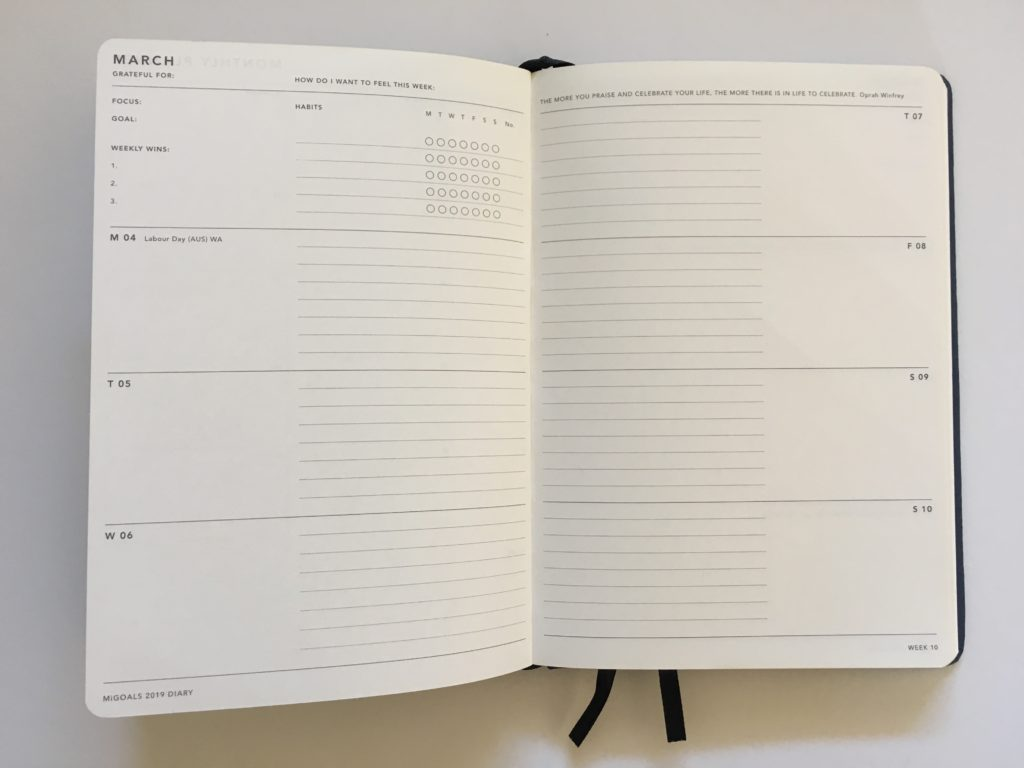mi goals diary horizontal layout monday start minimalist gender neutral sewn bound lined and unlined simple weekly habit tracker top 3 tasks