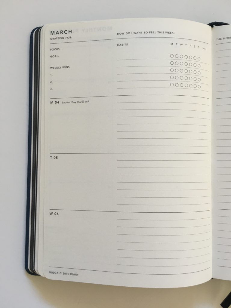 mi goals diary horizontal layout monday start minimalist gender neutral sewn bound lined and unlined simple weekly habit tracker top 3 tasks (2)