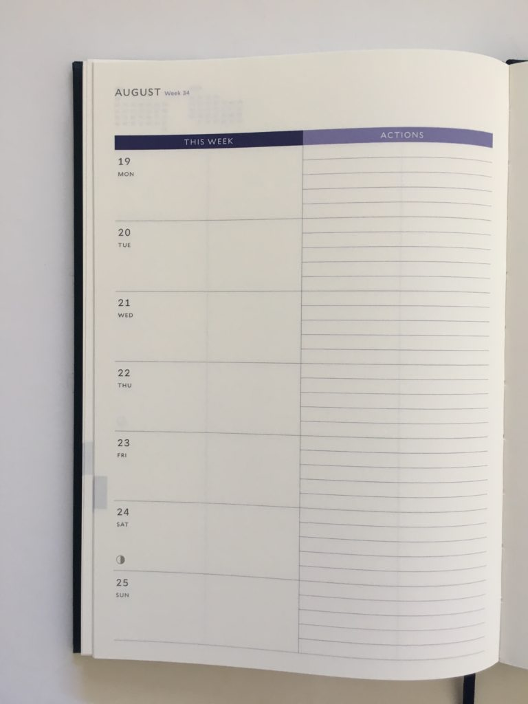 milligram a5 weekly planner review monday start lined action steps to do