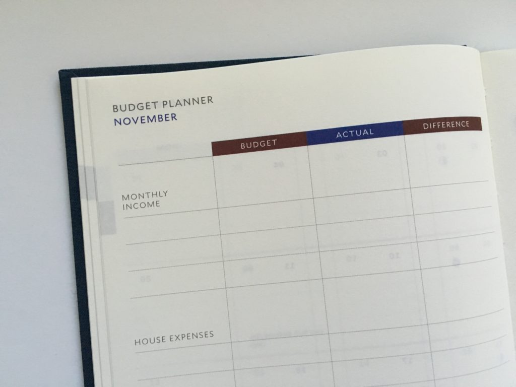 milligram family planner a5 budgeting monthly calendar 2 page weekly spread categories layout lined writing space