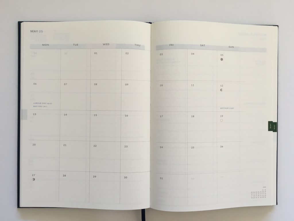 milligram family planner a5 page size 2 page monthly monday start