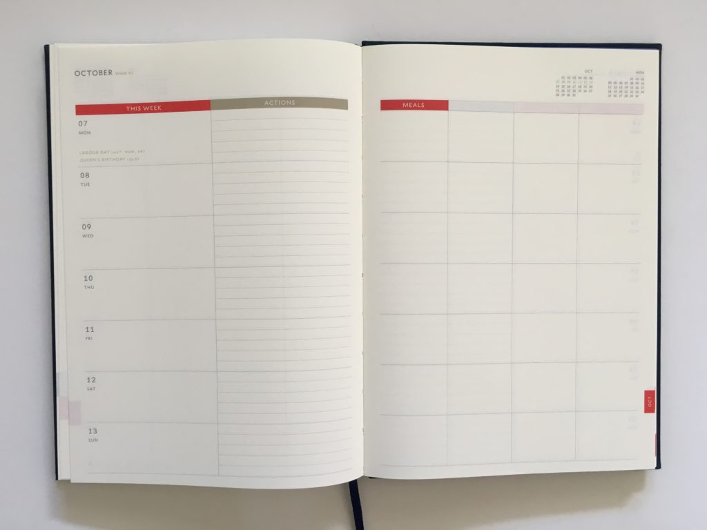 milligram family planner a5 page size weekly 2 pages appointment to do categories color block gender neutral minimalist