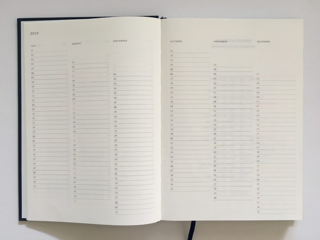 milligram planner review australian a5 size sewn bound minimalist gender neutral important dates at a glance