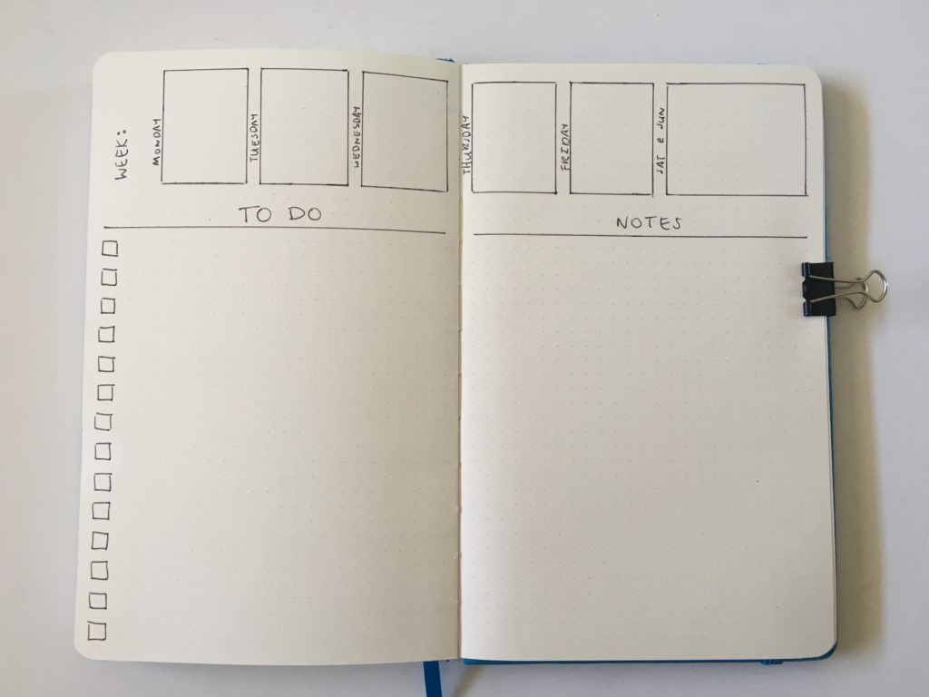 2 page weekly spread bullet journal ideas tips layout inspiration quick simple easy minimalist functional checklist