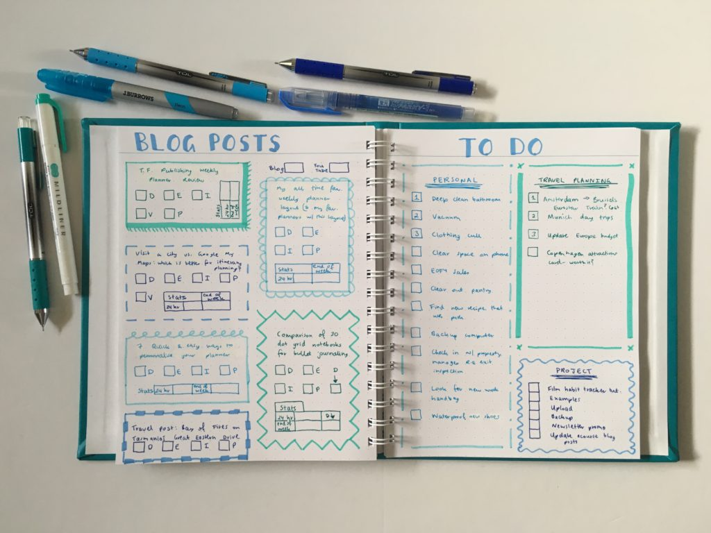 agendio bullet journal spread blue ombre theme teal zebra mildliner tul gel pen dot grid medium page size bright white paper