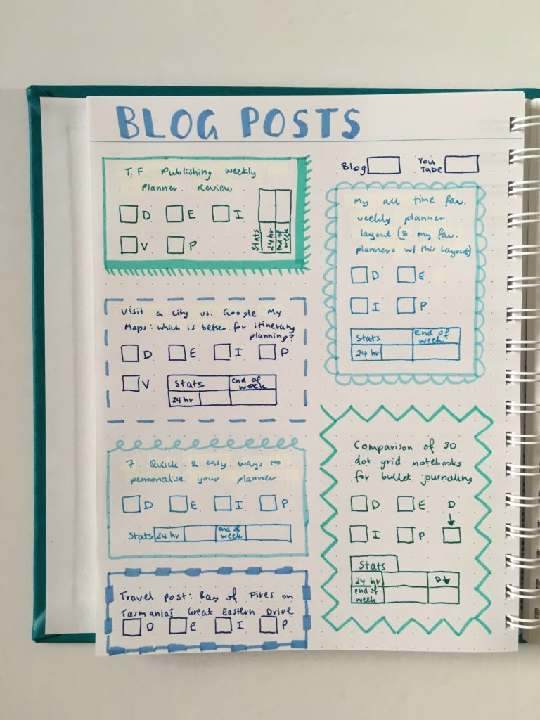 agendio dot grid bullet journal weekly spread ombre blue