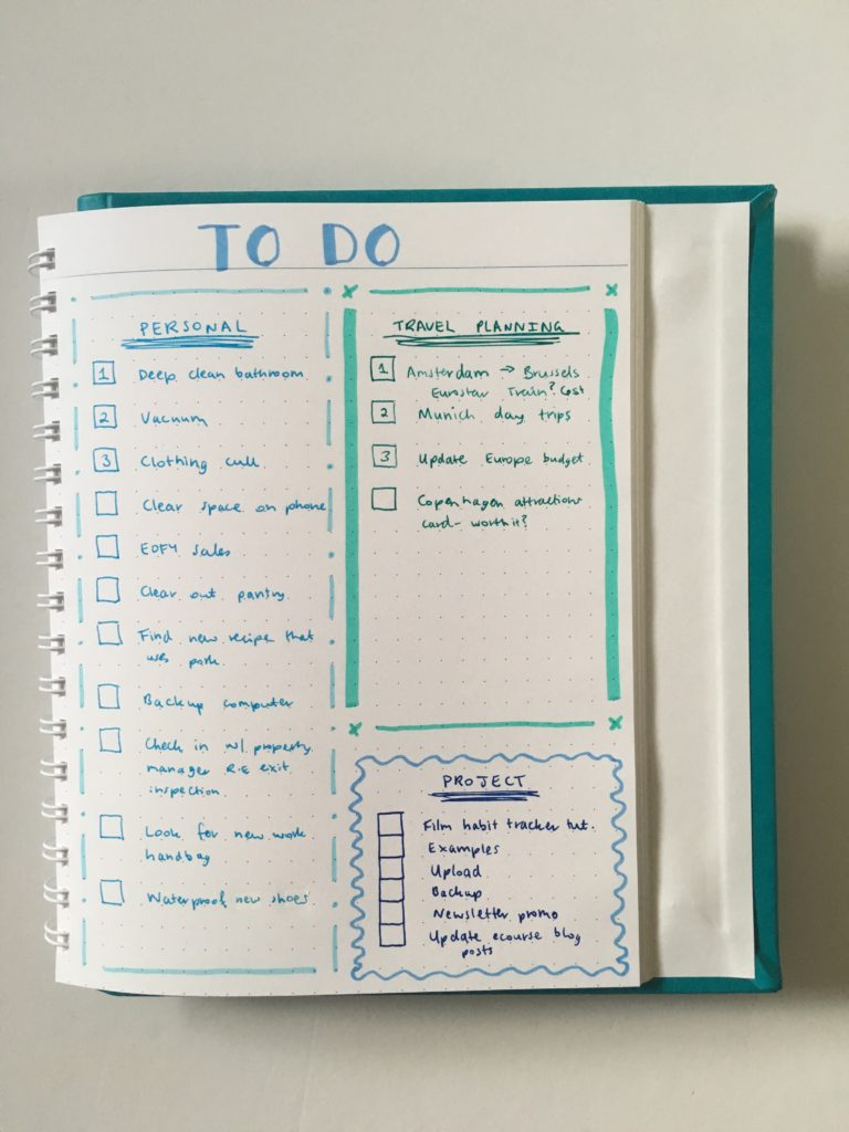 agendio dot grid notebook project checklist to do travel planning organization simple minimalist 2 page weekly spread bullet journal