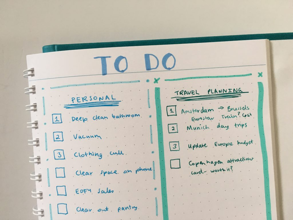 agendio to do list dot grid weekly spread zebra mildliner ombre blue theme hand lettering with highlighters