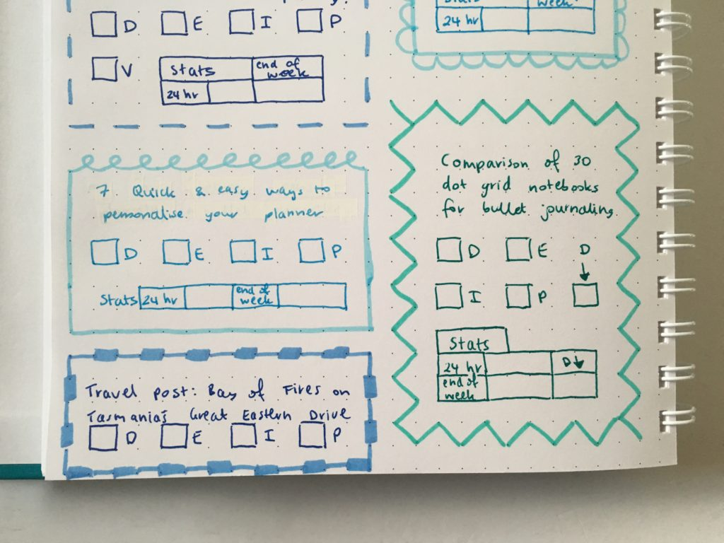 blog planning in the agendio dot grid notebook