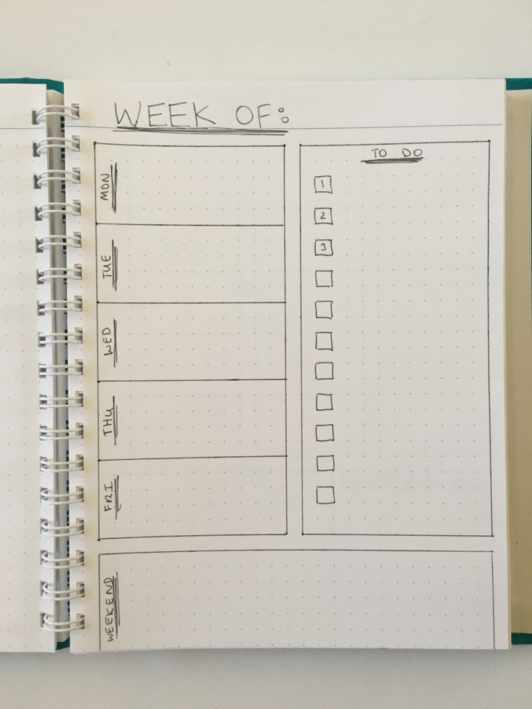 bujo 1 page weekly spread quick easy monday start 5 day week checklist agendio custom dot grid notebook