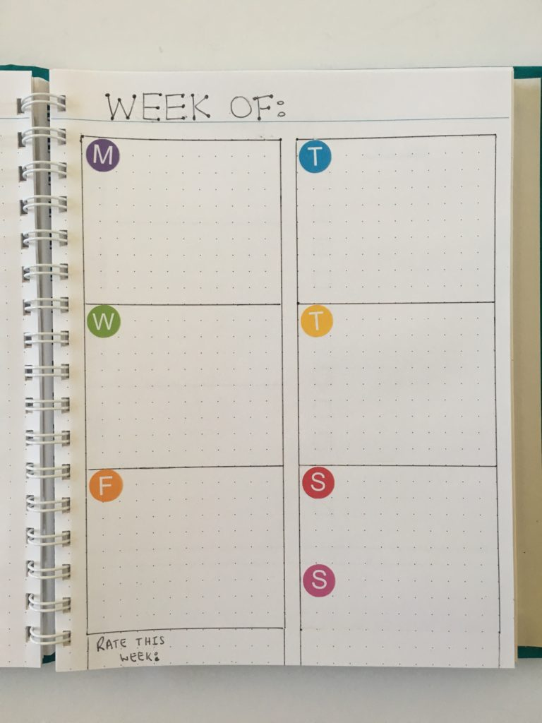bullet journal 1 page weekly spread minimalist colored date dot stickers agendio custom notebook review