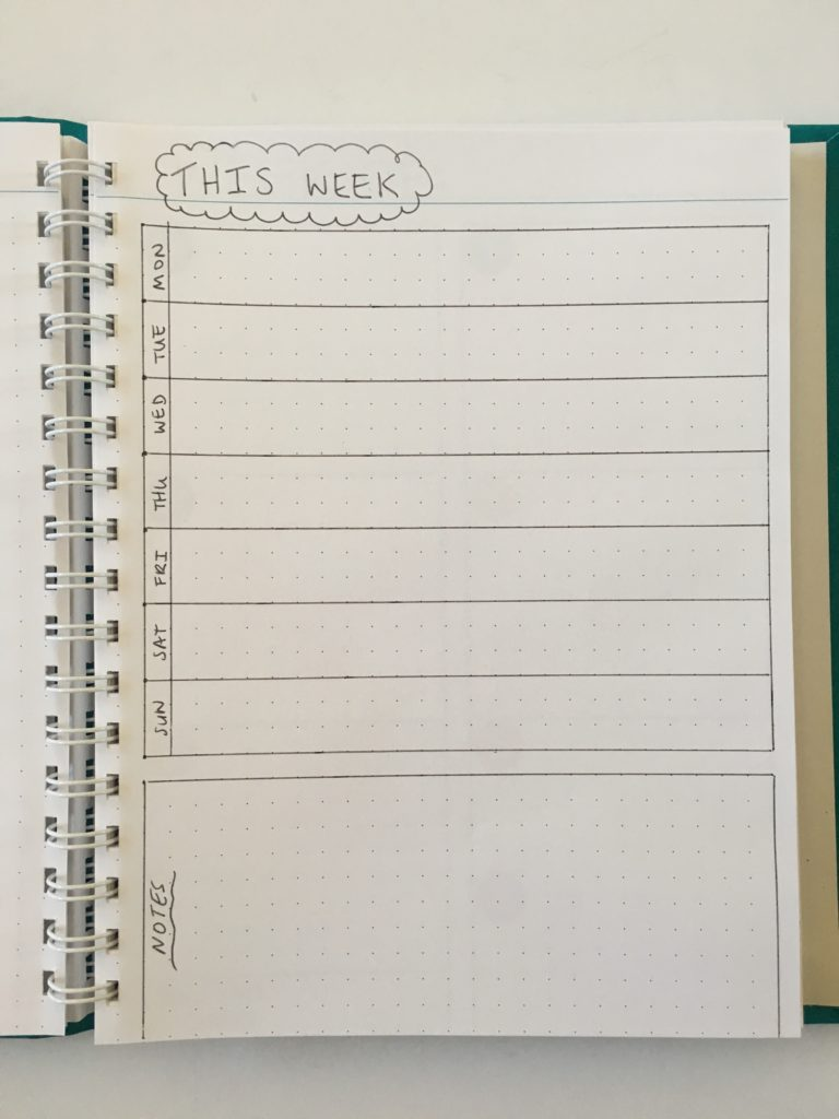 bullet journal 1 page weekly spread monday start simple minimalist quick easy