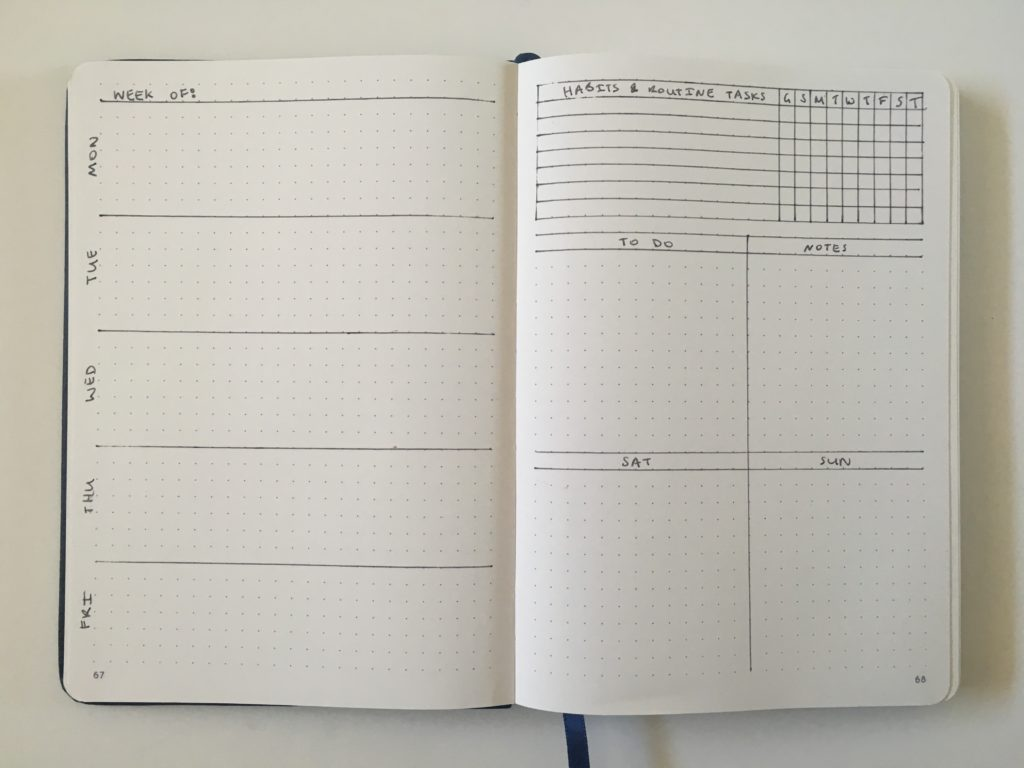 bullet journal 2 page weekly spread 5 day week habit tracker checklist to do list simple bujo