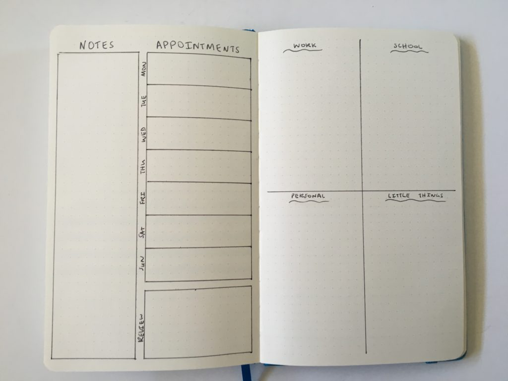 bullet journal 2 page weekly spread work and personal list space monday start simple minimalist quick easy layout ideas