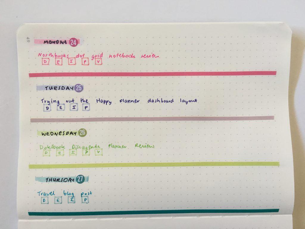 bullet journal horizontal weekly spread minimalist rainbow illustrated faith skinny washi tape northbooks lay flat binding