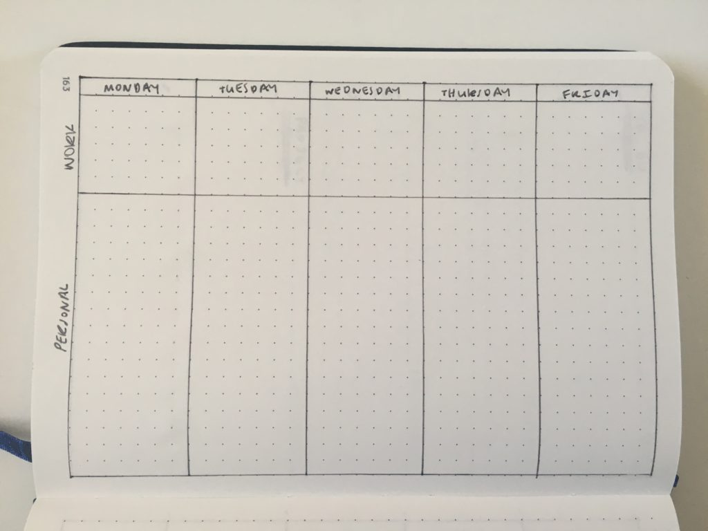 bullet journal weekly 5 day week monday start vertical horizontal work and personal