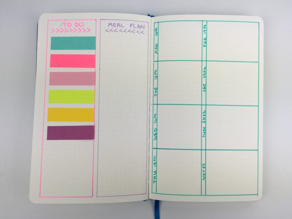 bullet journal weekly spread colorful sticky notes highlighters meal plan to do list 1 page vertical simple minimalist inspiration inspo diy