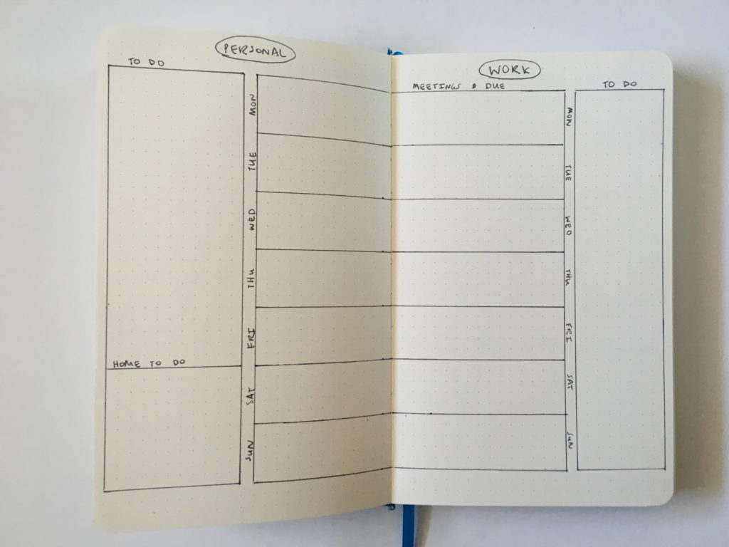 bullet journal weekly spread combine work and personal monday start simple quick minimalist bujo tips layout ideas