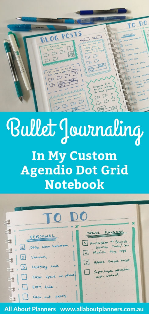 bullet journaling in custom agendio dot grid notebook planner organizer large page size lay flat binding bright white paper