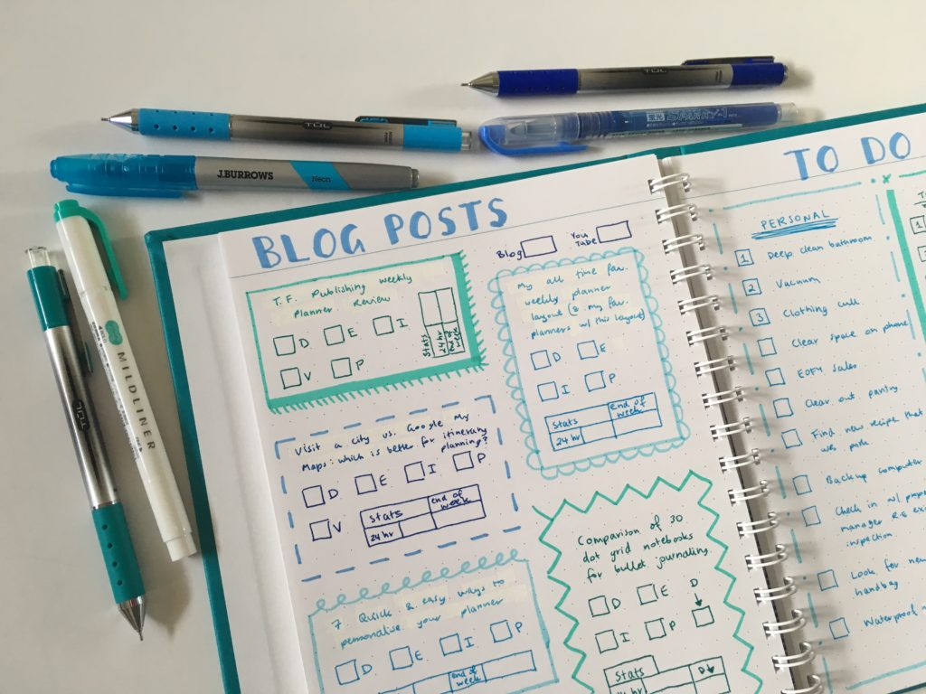 bullet journaling in the agendio dot grid notebook medium page size blue theme highlighters zebra mildliner