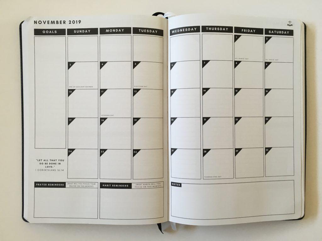 christian daily planner monthly calendar sunday start minimalist gender neutral family