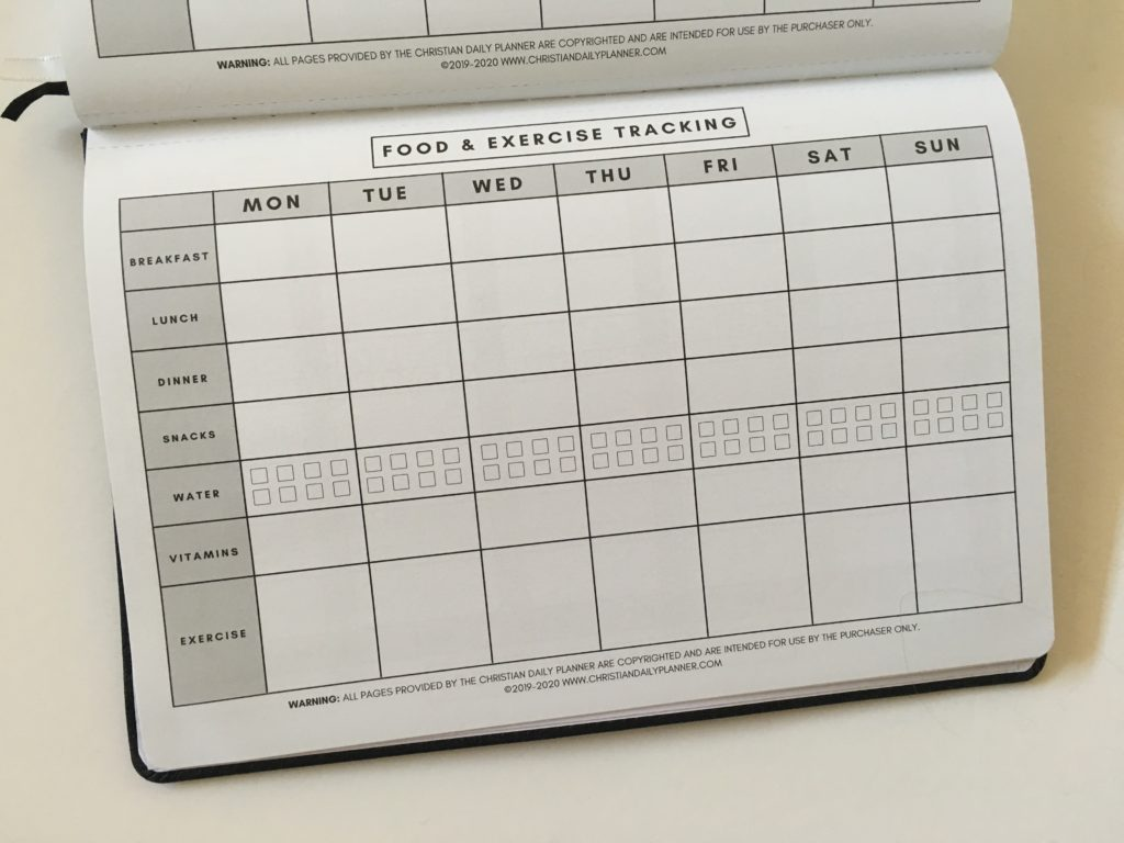 christian daily planner review food and exercise tracker weekly