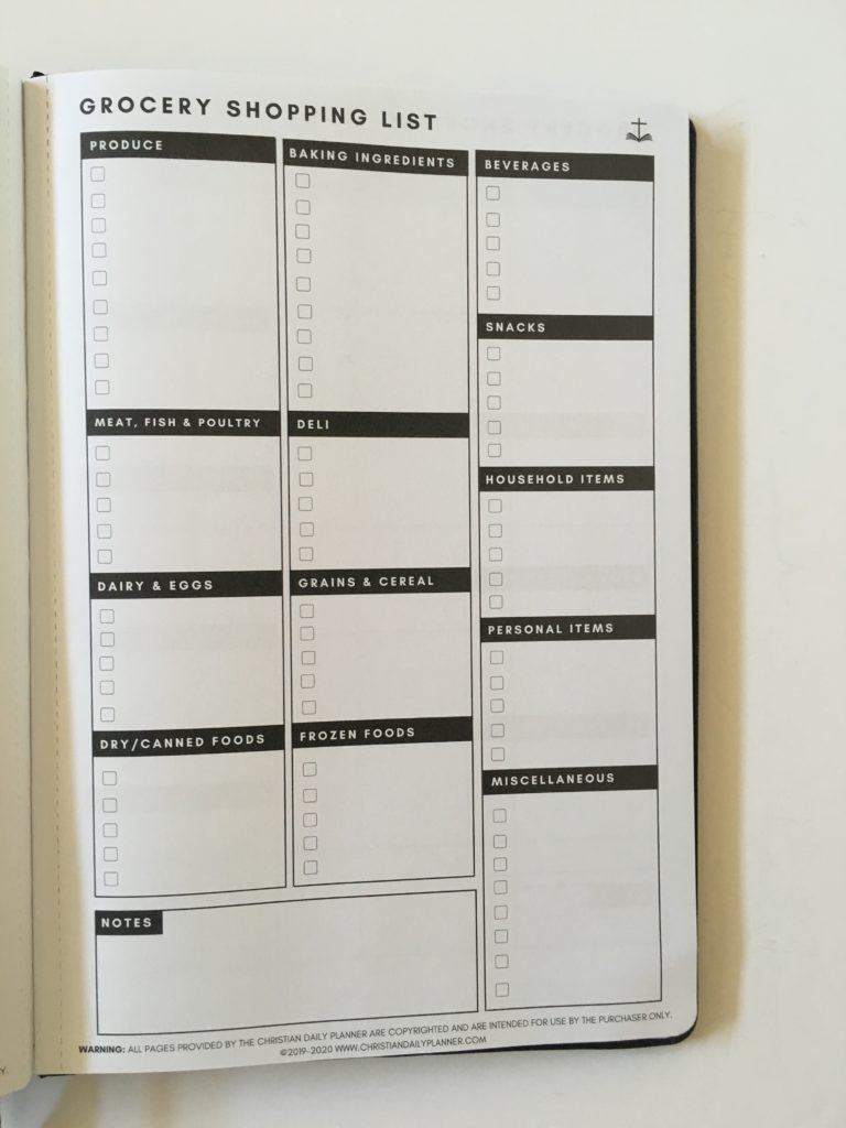 christian daily planner review grocery list categorised shopping checklist