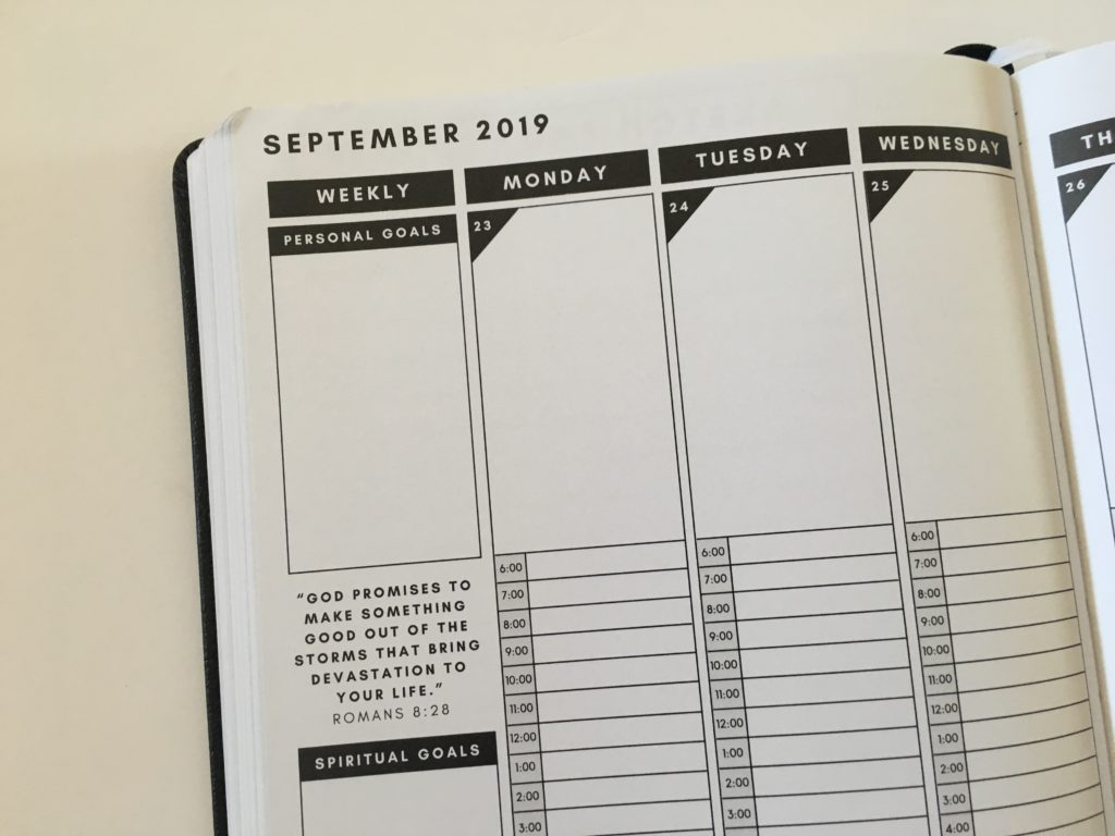 christian daily planner review vertical hourly monday start 6am to 12pm religious journal