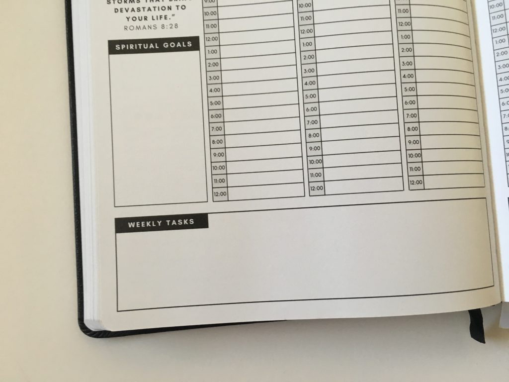 christian daily planner vertical hourly weekly layout schedule 6am to 12pm goals reflection bible