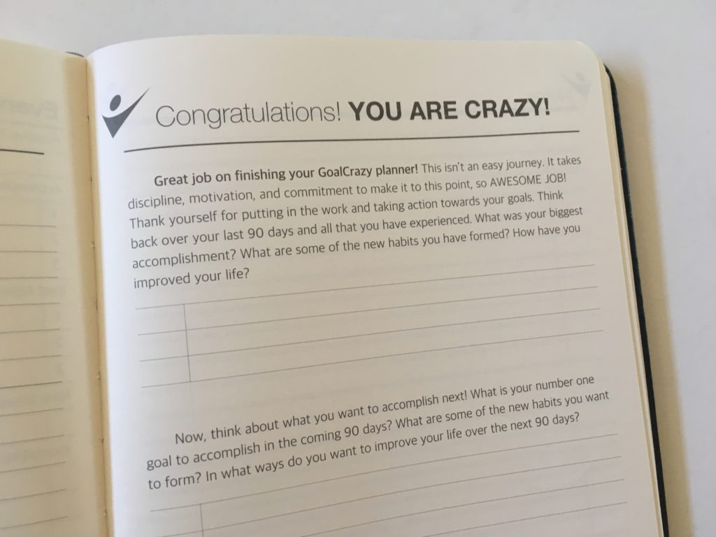 crazy goals planner end of planner review