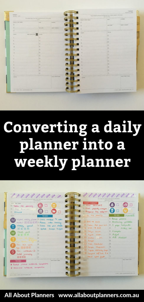 graphic relating to Day Designer Planners named Changing the Working day Designer every day into a weekly planner