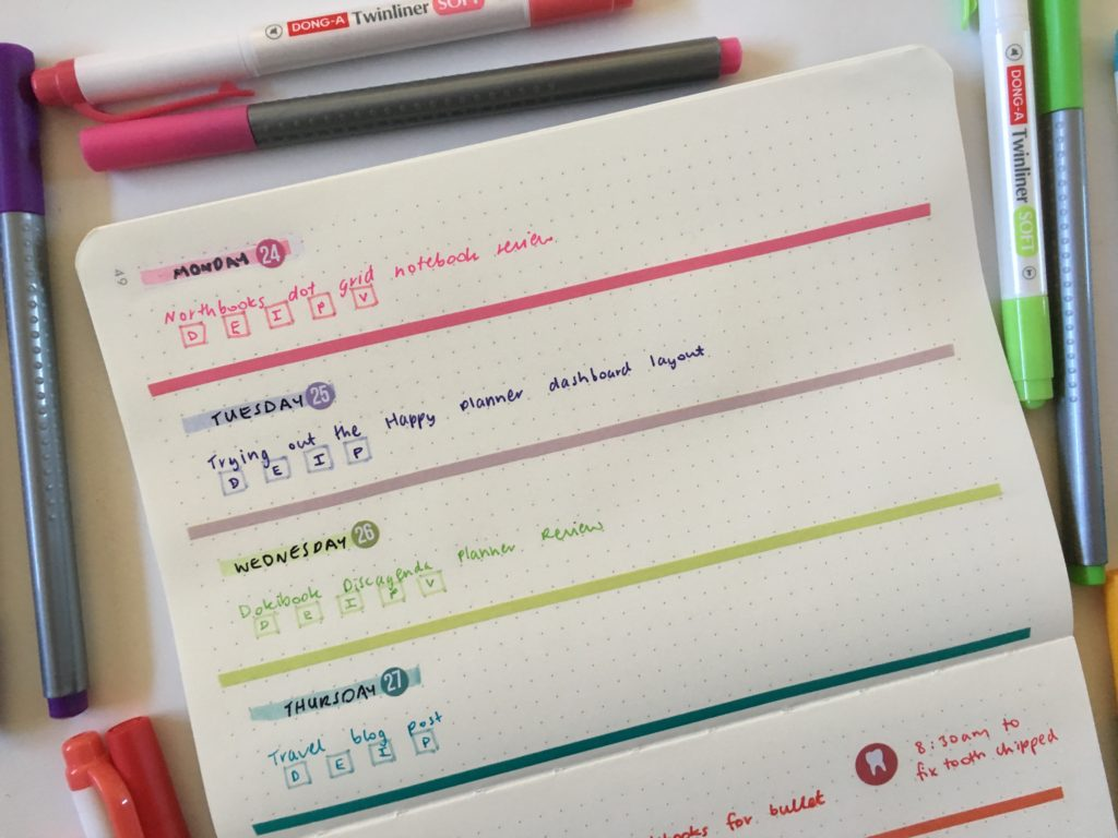 fixing mistakes in your bullet journal highlighters washi tape simple quick easy weekly spread horizontal
