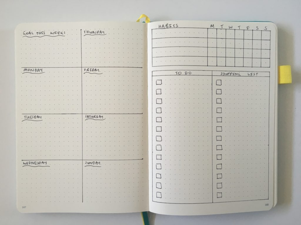 horizontal weekly spread bullet journal scribbles that matter monday start list habit tracker minimalist simple quick easy