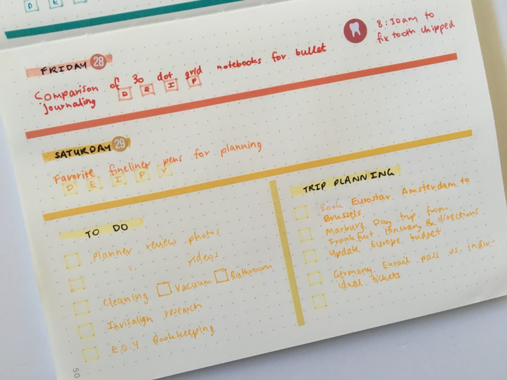 horizontal weekly spread simple minimalist rainbow color coding by day category illustrated faith skinny washi tape northbooks weekly spread