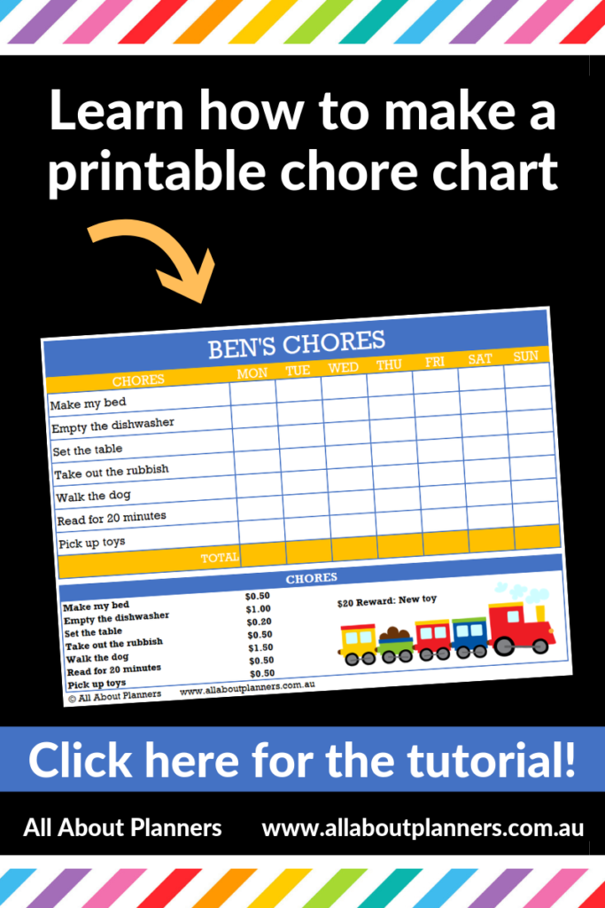 how to make a printable chore chart childrens responsibility chart microsoft excel tutorial video