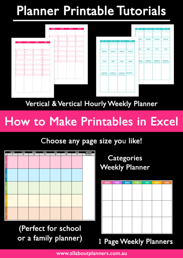 how to make printables in excel ecourse tutorial horizontal weekly vertical 2 page categories hourly vertical