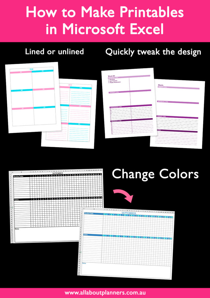 how to make printables in microsoft excel change colors lined or unlined simple colorful tips ecourse video tutorial