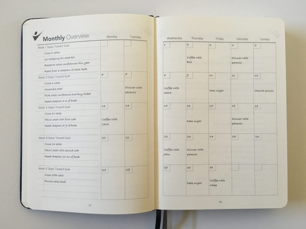 how to use the crazy goals planner monthly calendar overview