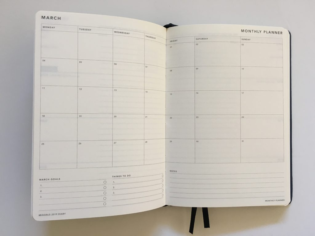 mi goals planner review monthly calendar layout monday week start saturday and sunday larger planning space goals top 3 checklist minimalist